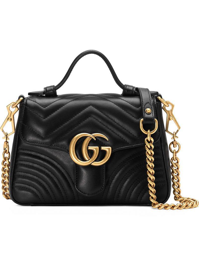 06c78caeb8c Lyst - Mini sac à main GG Marmont Gucci en coloris Noir