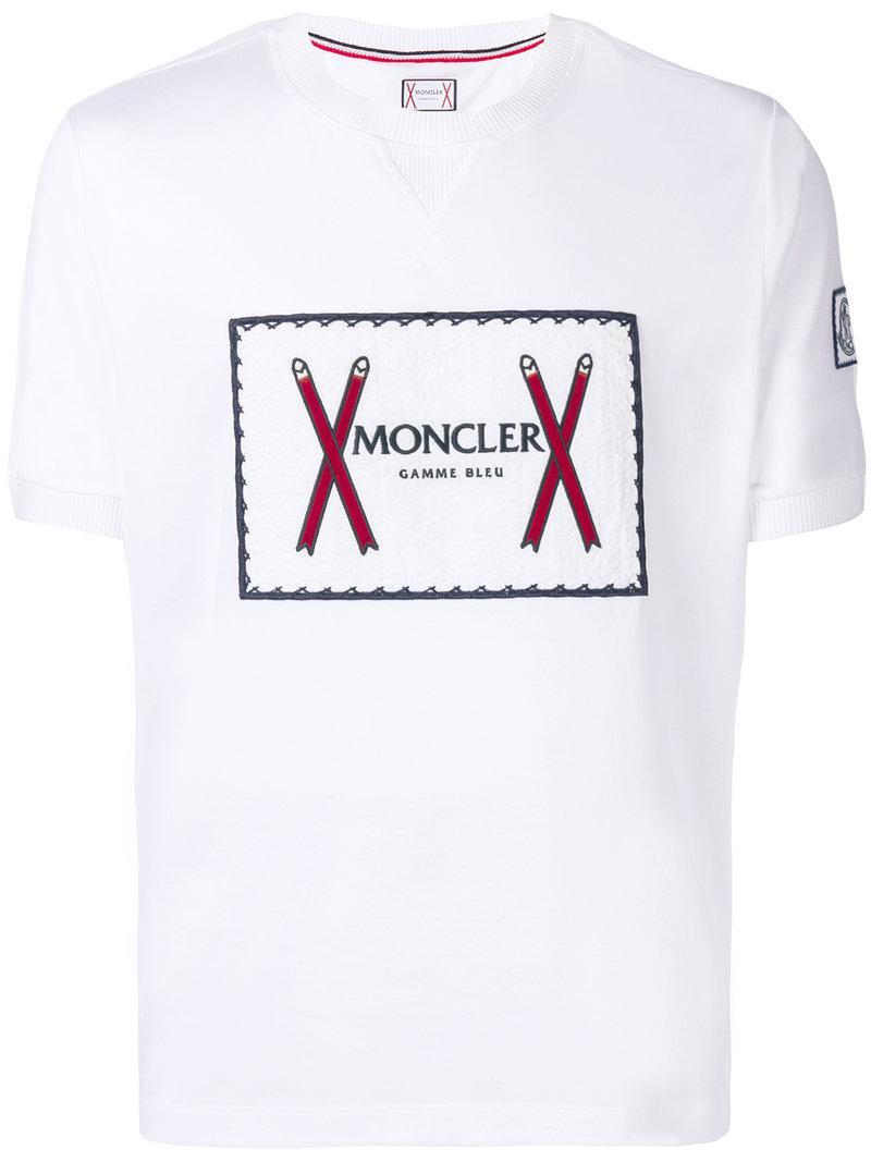 42fb4edabd0f Lyst - T-shirt à logo brodé Moncler pour homme en coloris Blanc