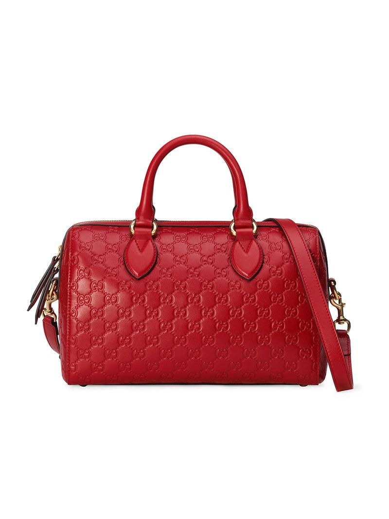 442b465383f Lyst - Gucci Soft Signature Top Handle Bag in Red