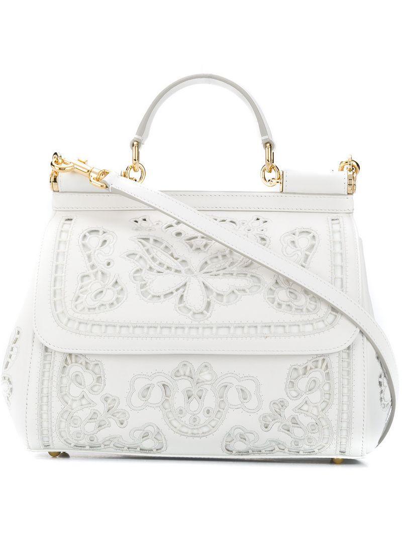 46c8e6d662fa Dolce   Gabbana Sicily Tote Bag in White - Lyst