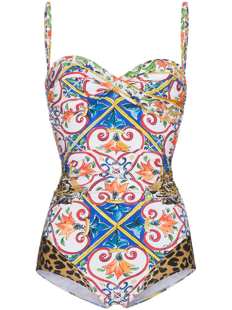 e7a57191f7 Lyst - Dolce   Gabbana Maiolica Leopard Print Swimsuit in Blue