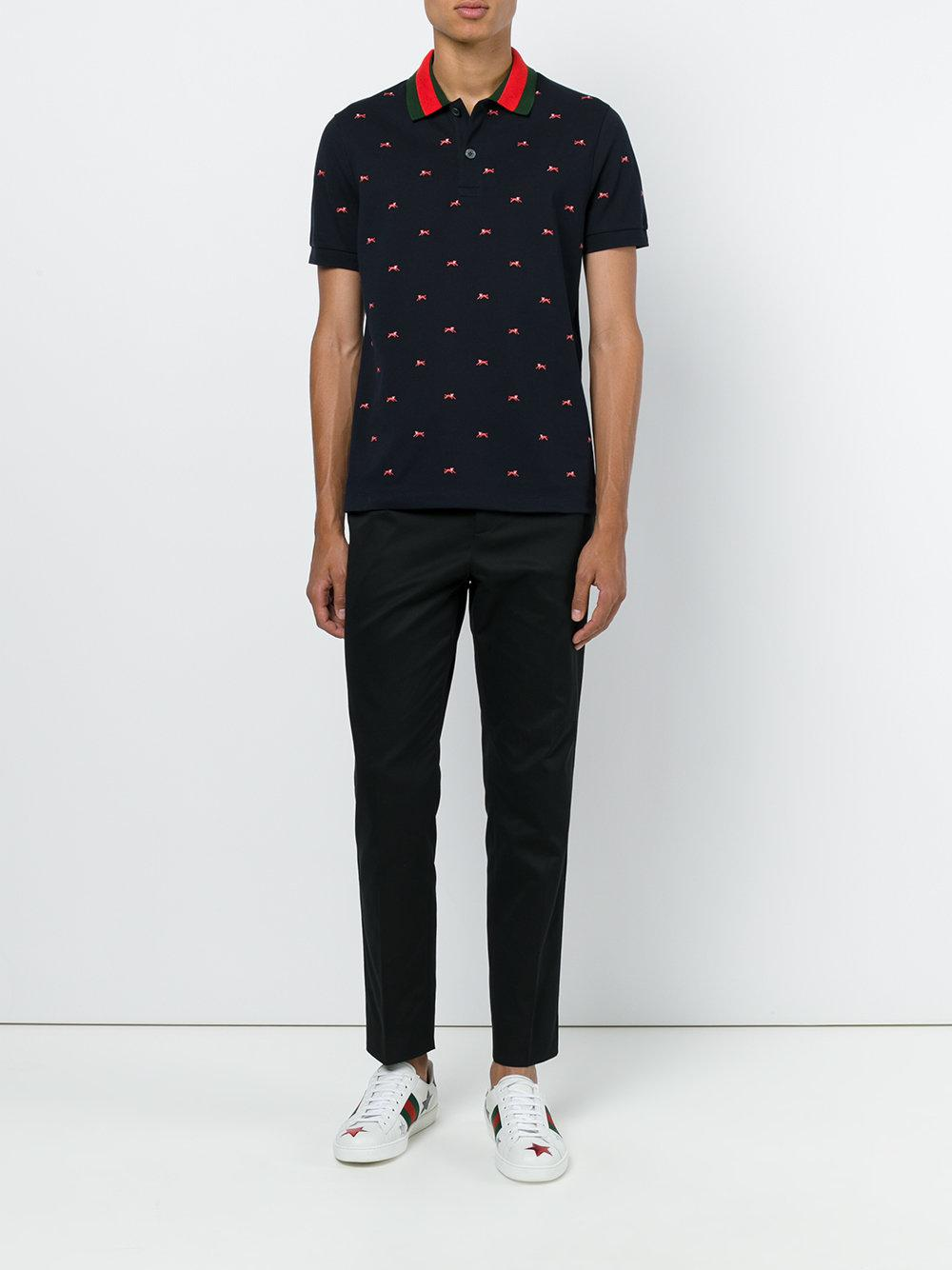 5cd6d855589 Gucci Panther Polo Shirt in Blue for Men - Lyst