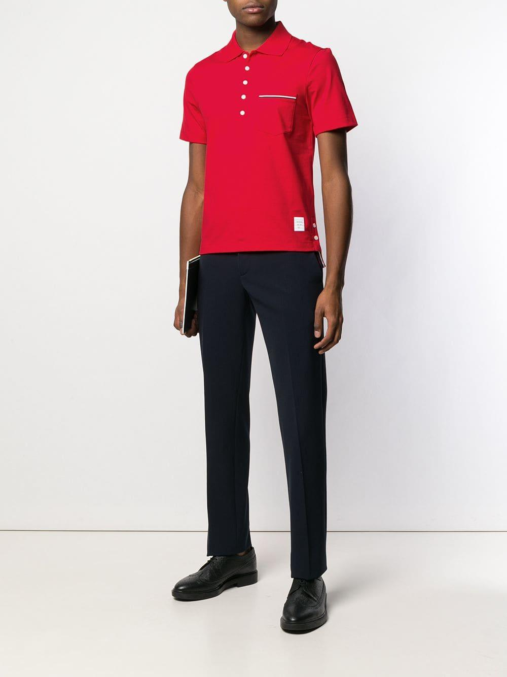 27d2a8112d4 Thom Browne Chest Pocket Polo Shirt in Red for Men - Lyst