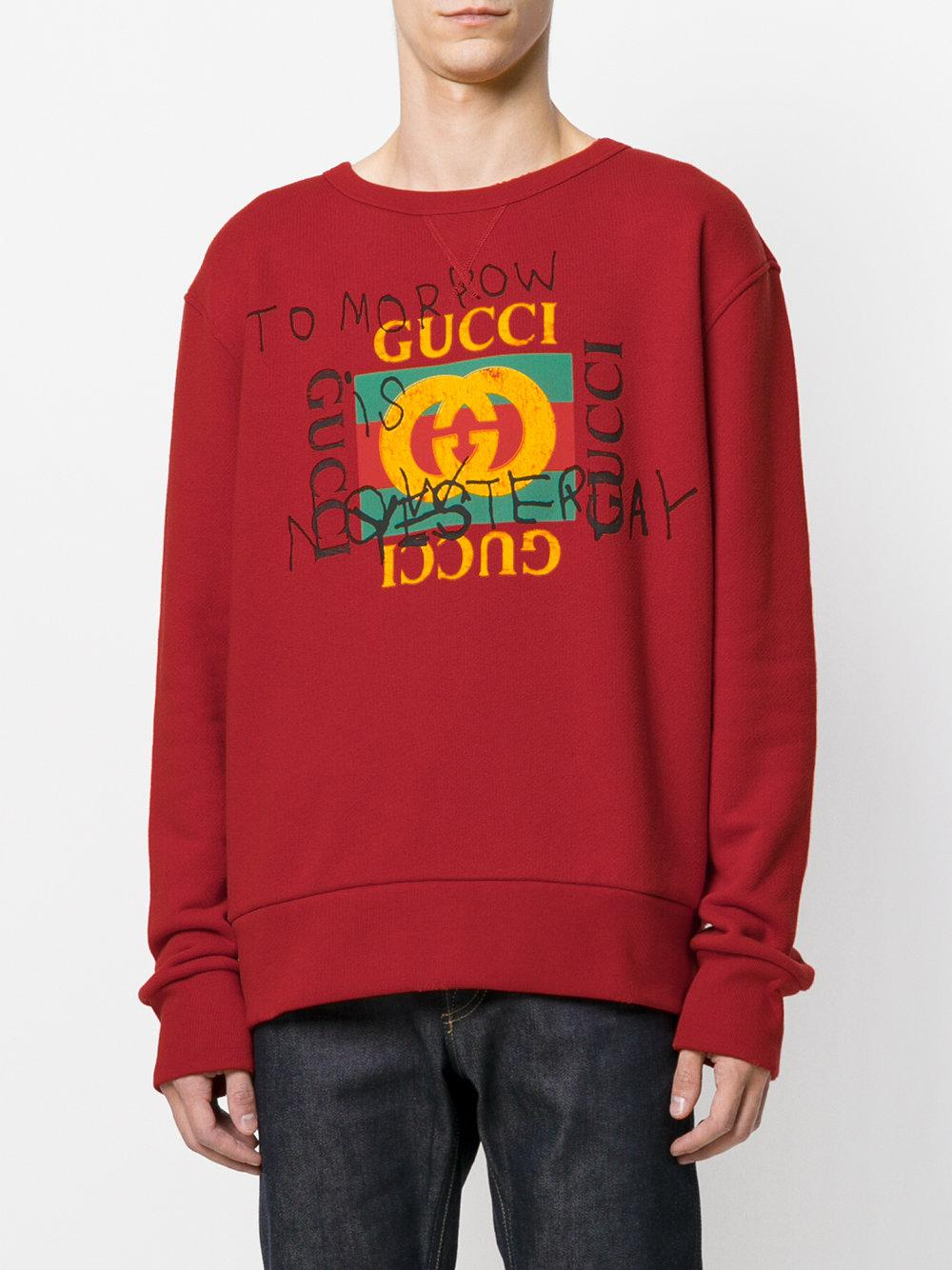 1ae5cb1a7675 Lyst - Gucci Coco Capitán Logo Sweatshirt in Red for Men