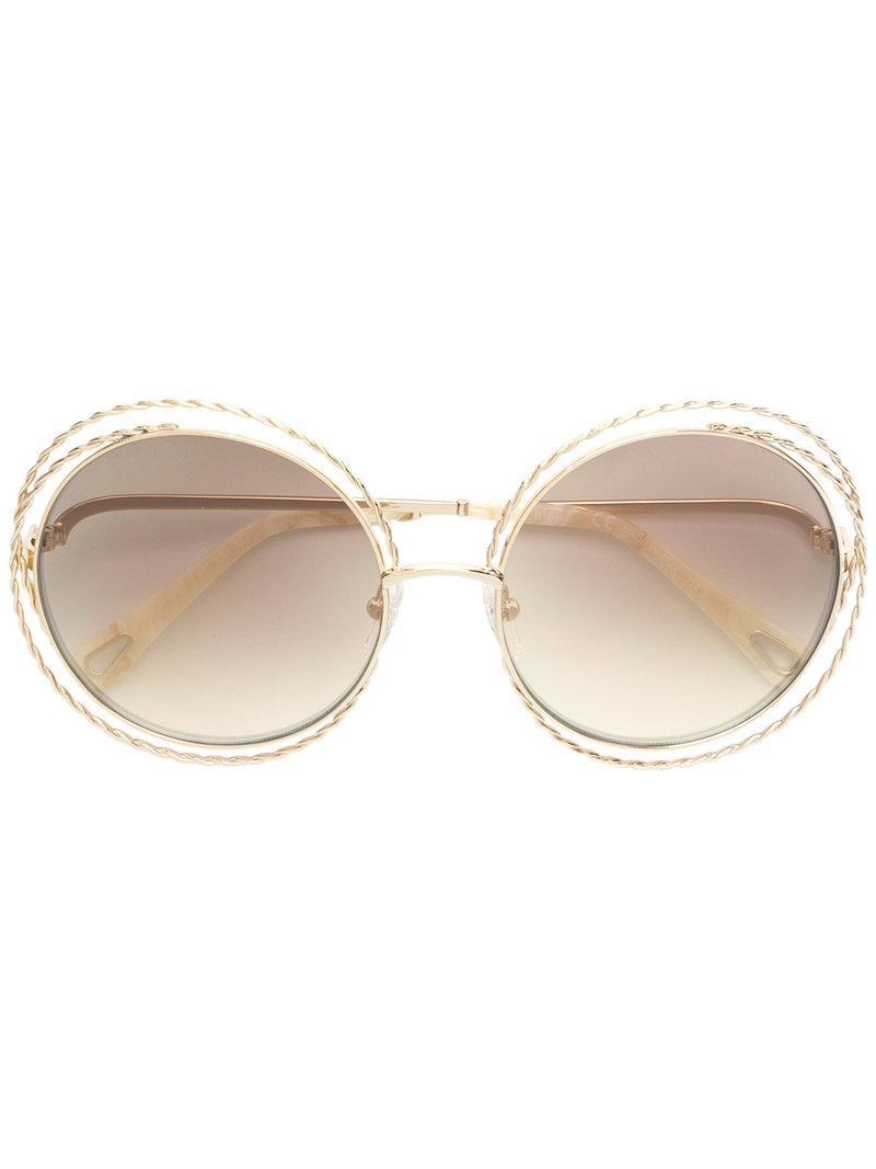 22b90744351 Chloé Oversized Wired Sunglasses in Metallic - Lyst