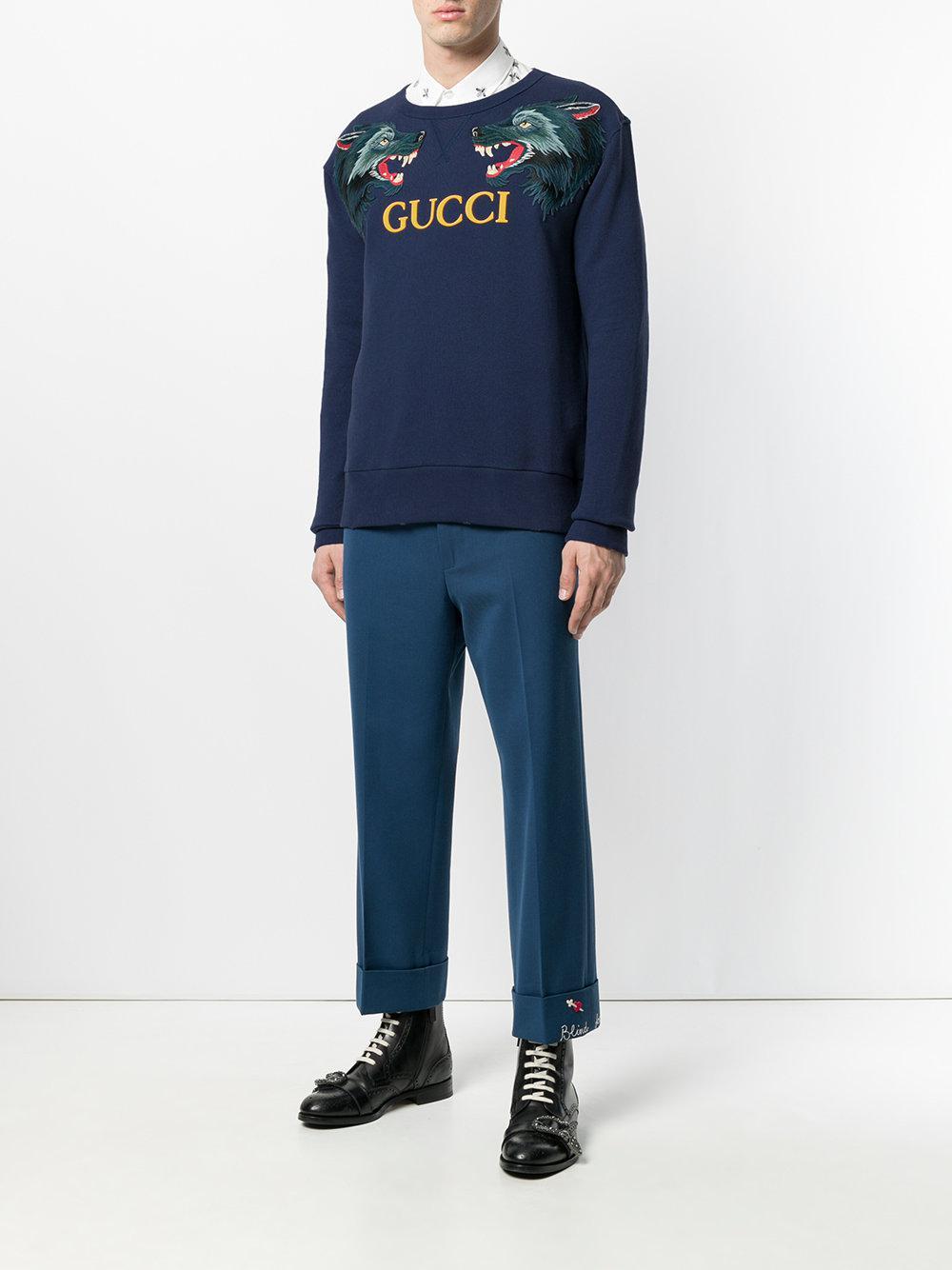 1cc291ef8 Gucci Wolf Head Appliqué Sweatshirt in Blue for Men - Lyst