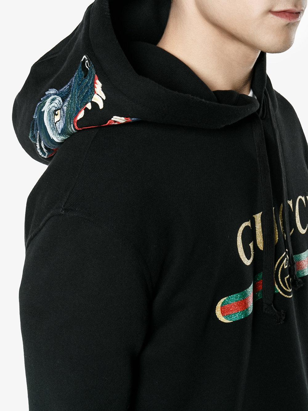 49b8c623a48 Lyst - Gucci Felpa Con Lupo Ricamato in Black for Men