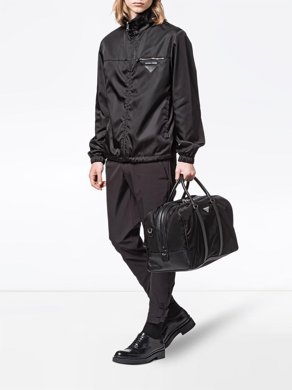8770898ad0ea Prada Saffiano Leather Trim Duffle Bag in Black for Men - Lyst