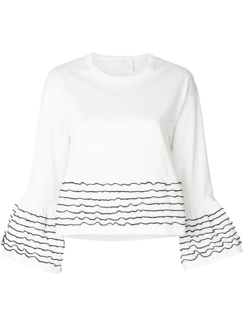 Sale 100% Guaranteed See By Chloé cropped bell sleeve top Buy Cheap Order 9t8A4a8dHq