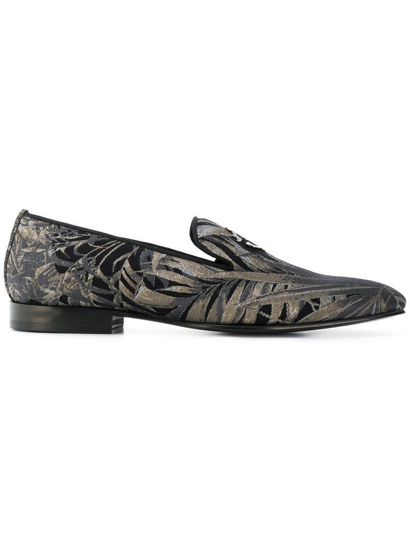 cb03e18d059 Roberto Cavalli Palm Print Loafers in Black for Men - Lyst
