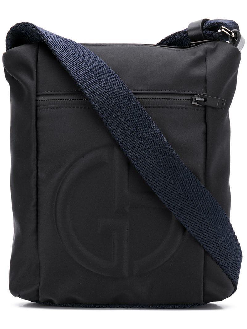 14003dcbe1 Lyst - Giorgio Armani Logo Embossed Messenger Bag in Black for Men