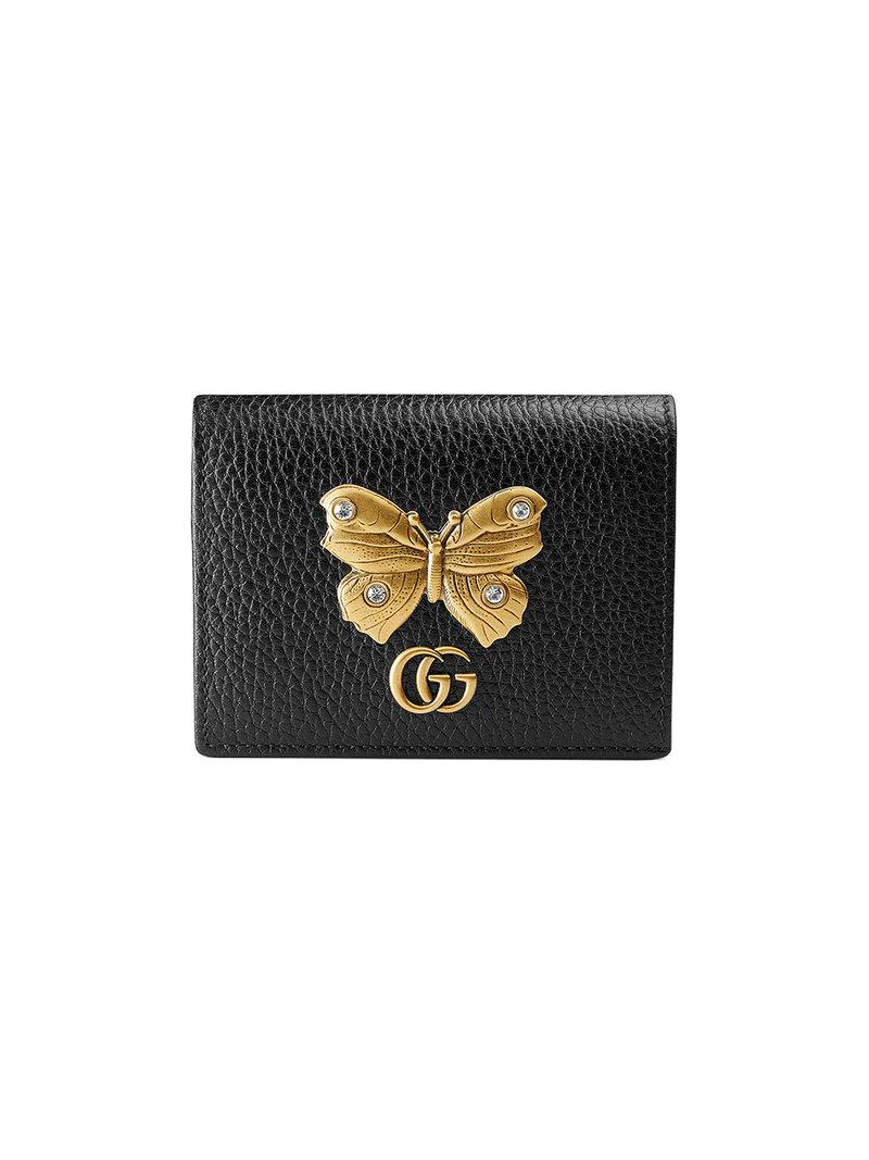 Gucci Leather Card Case With Butterfly in Black - Save 9% - Lyst 725715f59bf