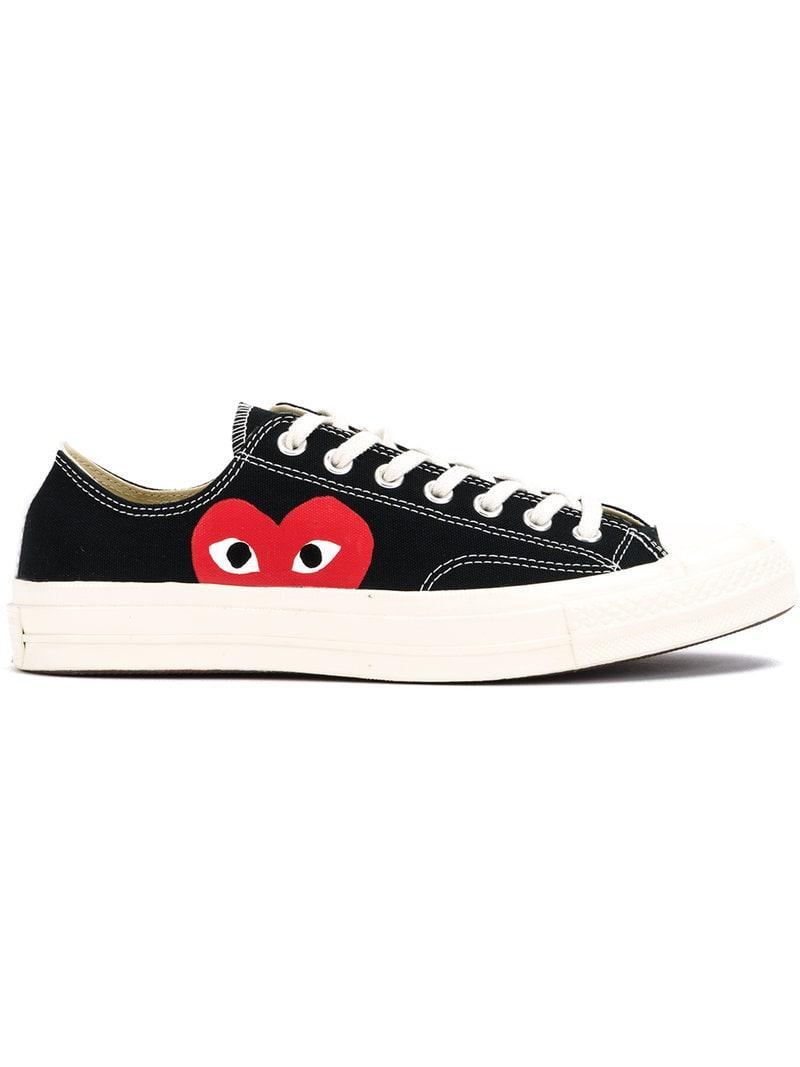94c5eb3c114c COMME DES GARÇONS PLAY Canvas Heart Print Sneakers in Black for Men ...