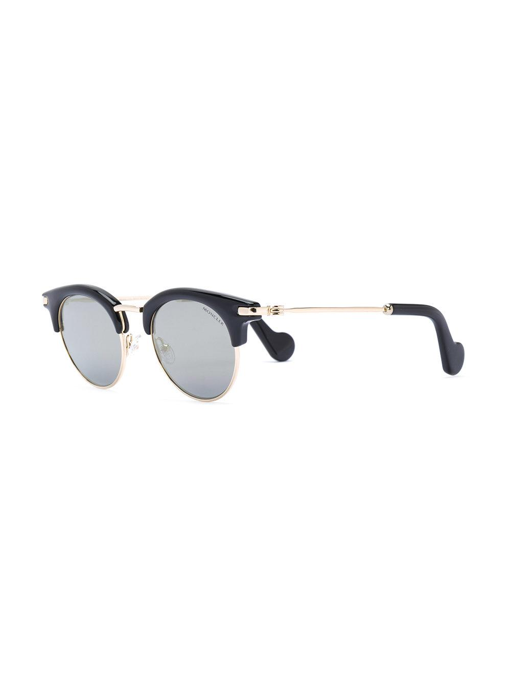 5570b9cfdd Moncler - Black Round Frame Sunglasses - Lyst. View fullscreen