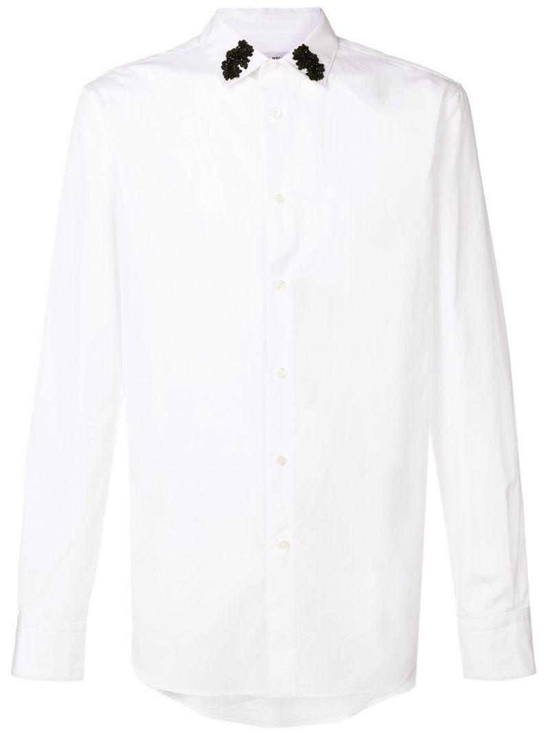Lyst Alexander Mcqueen Embroidered Collar Shirt In White For Men
