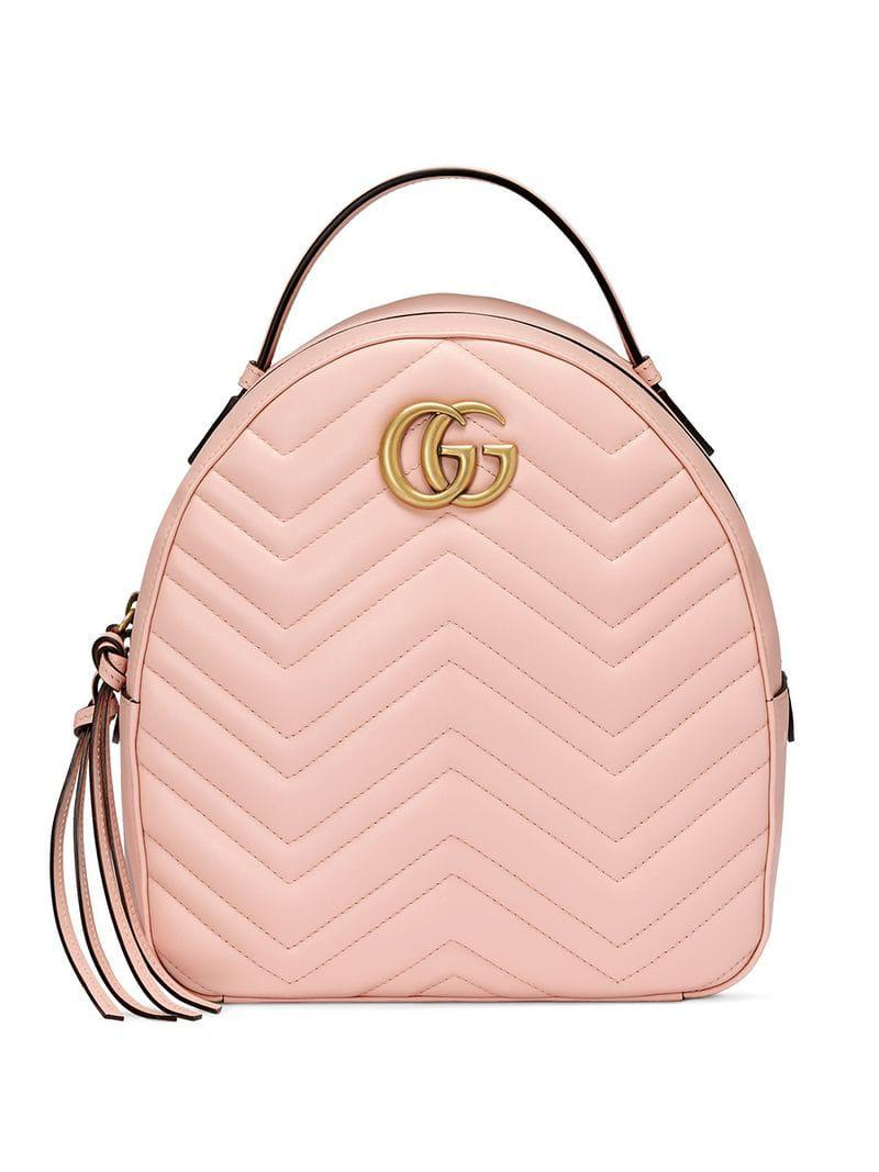 51ebd3f3fba9 Gucci Marmont Quilted Leather Backpack in Pink - Save 5% - Lyst