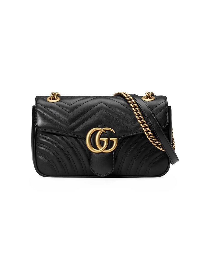 c84d959144b Lyst - Gucci Black GG Marmont Small Matelassé Leather Shoulder Bag ...