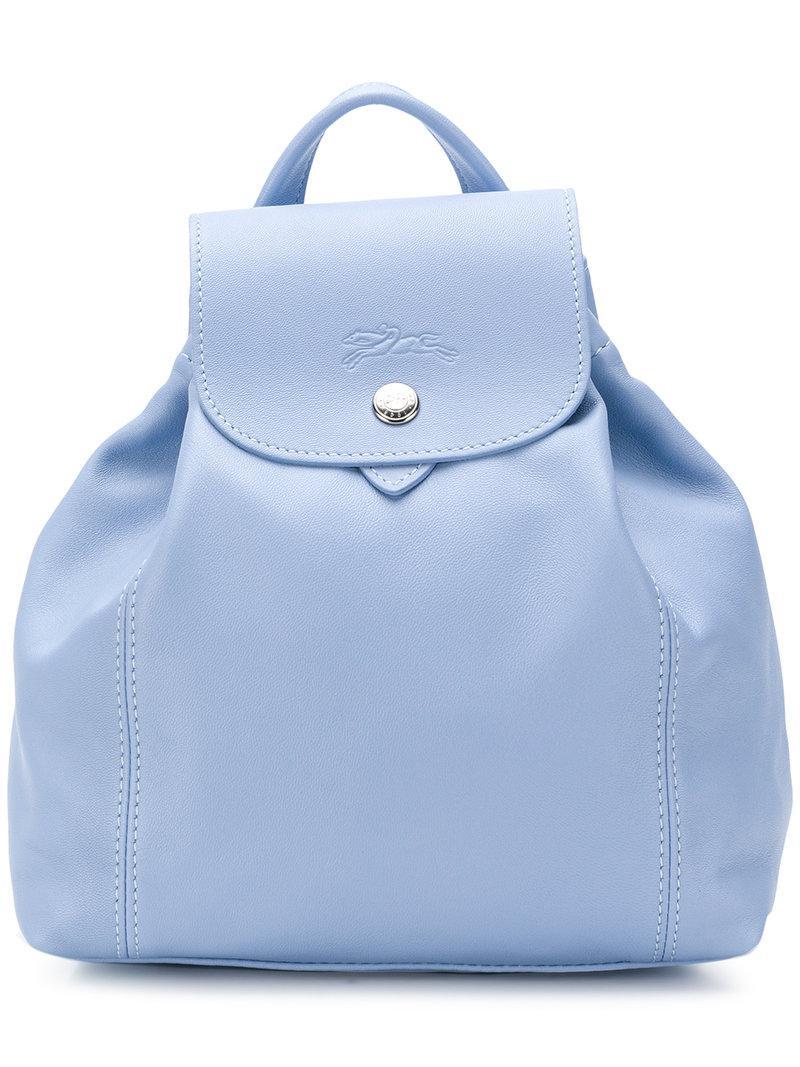 Lyst - Sac à dos à rabat Longchamp en coloris Bleu fe22aa2d250
