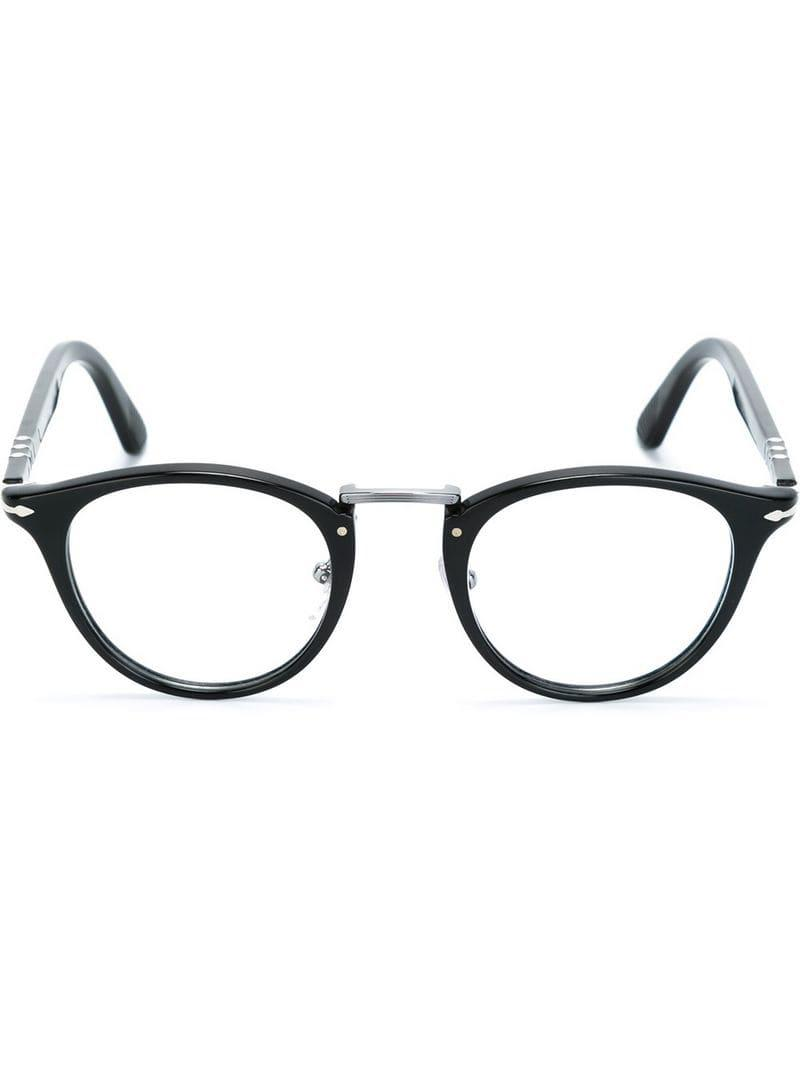 91f1db099c Persol Round Frame Glasses in Black - Lyst