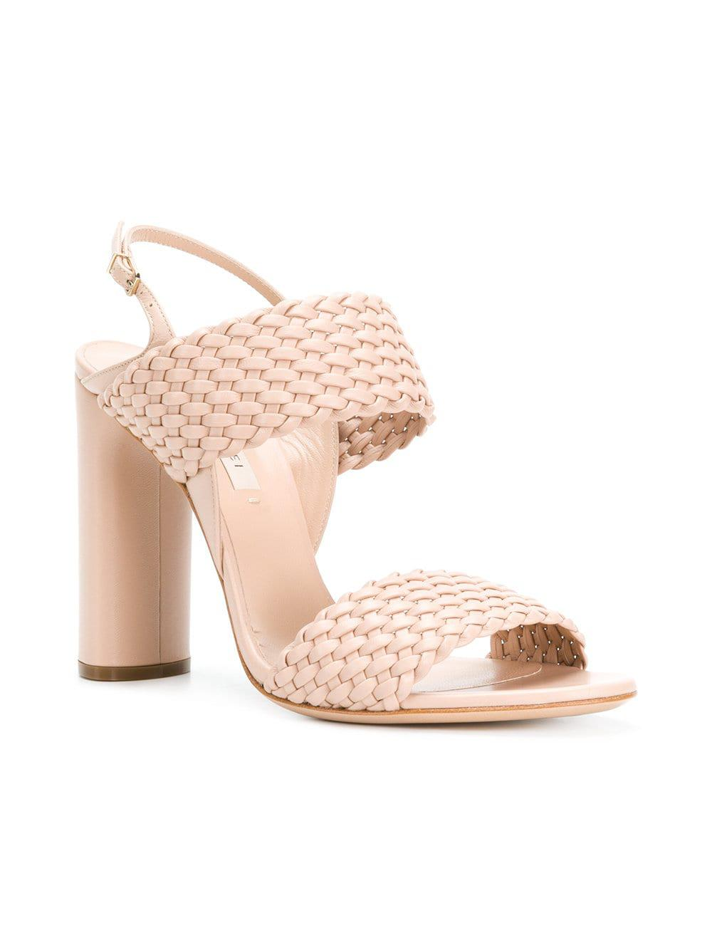 cc8a8ab0d9e8 Lyst - Casadei Woven Strap Sandals in Pink - Save 2%