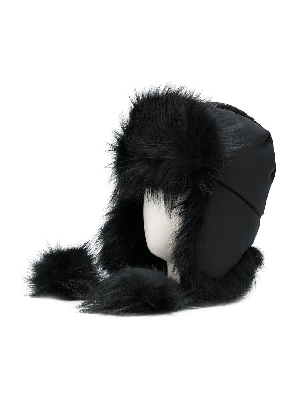 6fe5c87b9a5 Fendi - Black Fur-trim Pom Pom Hat - Lyst. View fullscreen