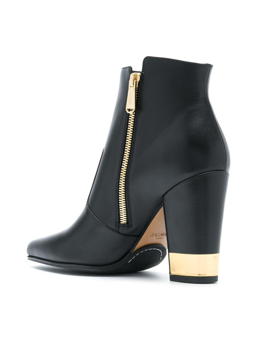 metallic heel boots - Black Balmain J0zlzSv