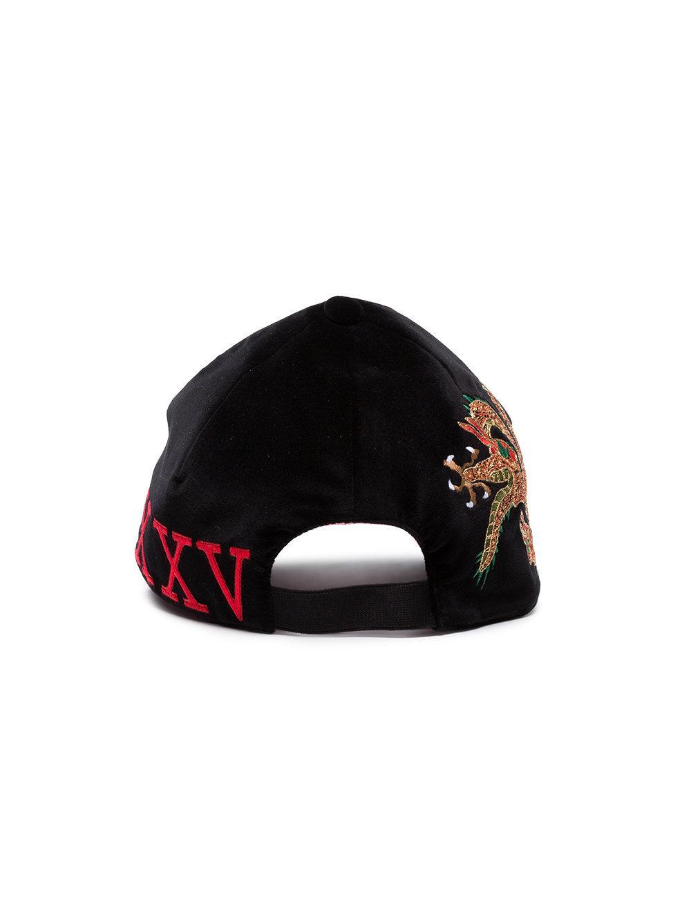 d297317e Gucci - Black Dragon Embroidered Velvet Cap - Lyst. View fullscreen