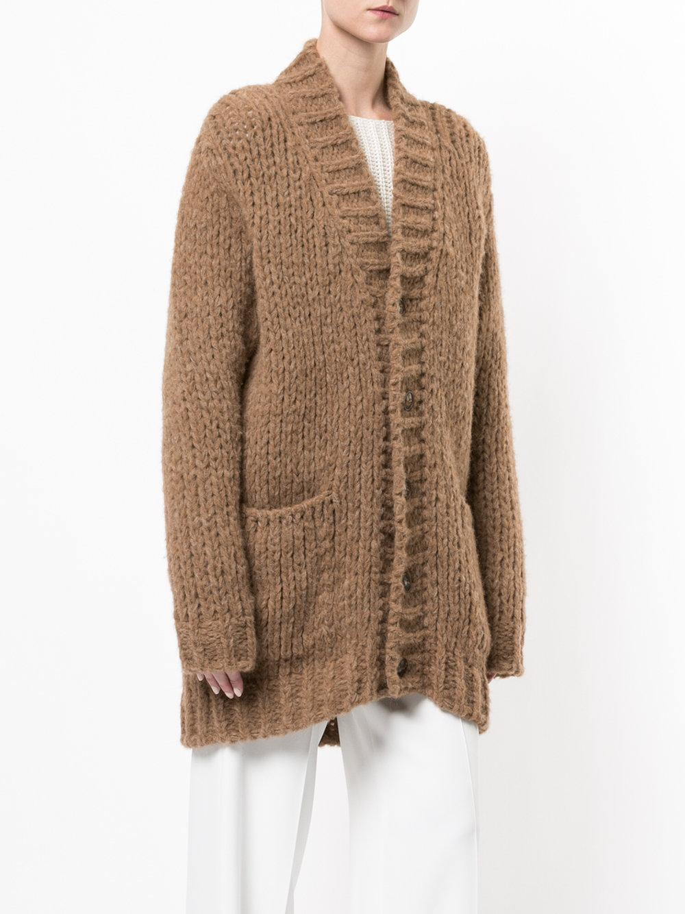 Roberto collina Oversized Chunky Knit Cardigan in Brown | Lyst