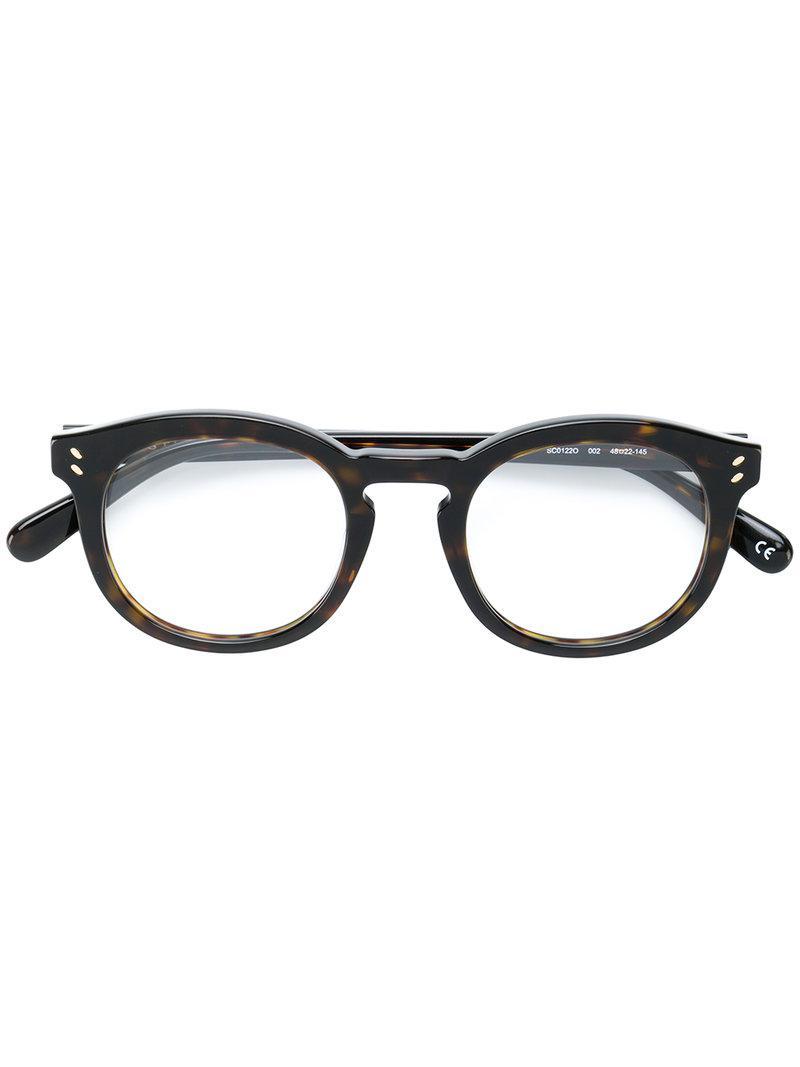 716774d51b Stella McCartney Round Frame Glasses in Black - Lyst