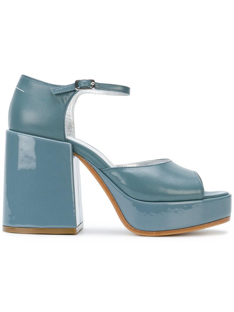 Sandales À Talon Noeud Trapu - Maison Bleu Martin Margiela VFT34