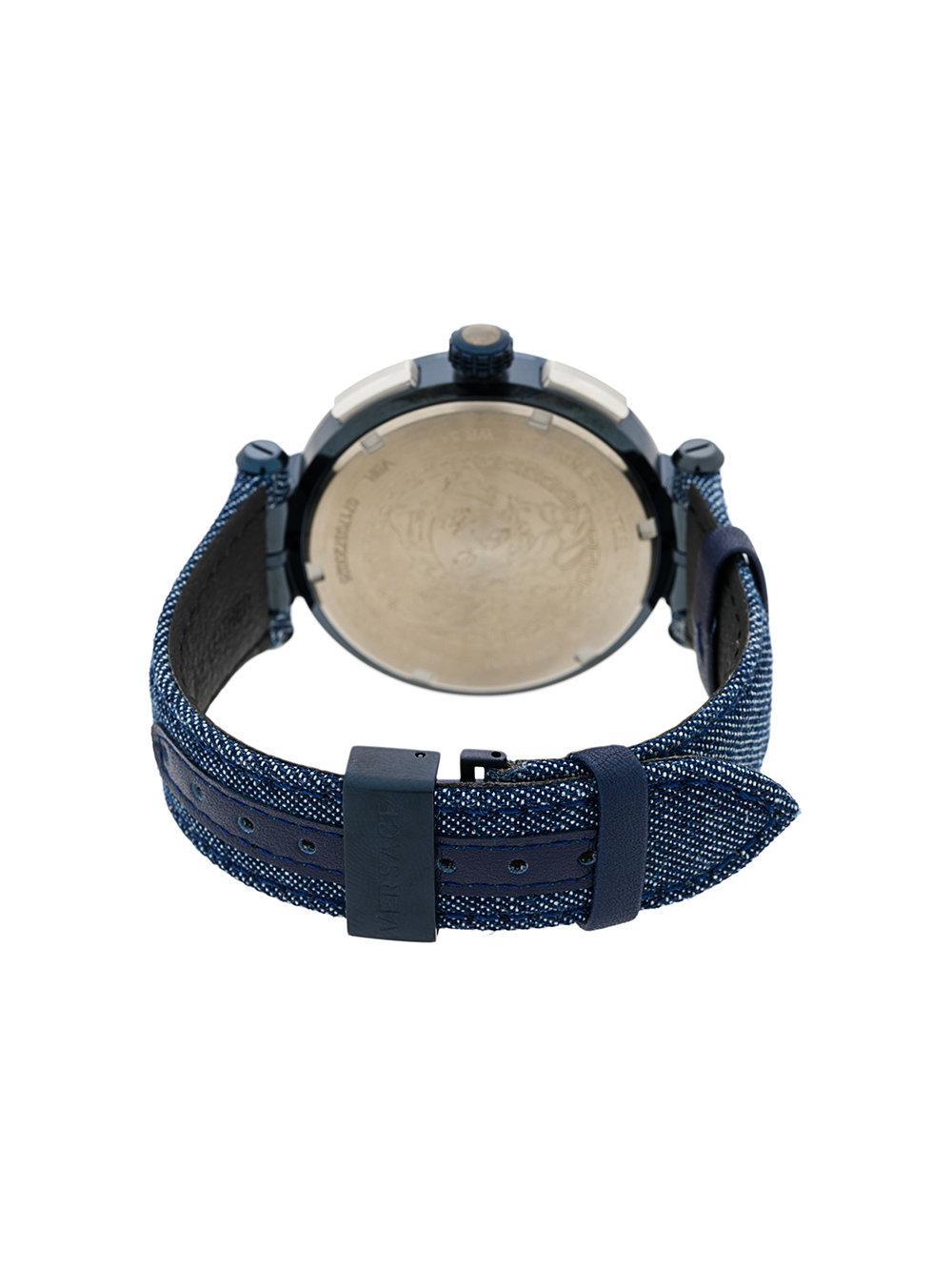 3f32c819f Versace Denim Aion Chrono Watch in Blue for Men - Lyst