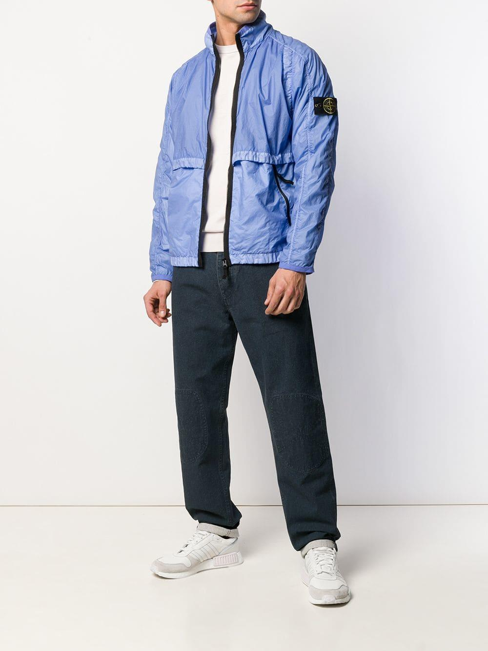 001fec2c Stone Island Logo Patch Jacket in Blue for Men - Lyst