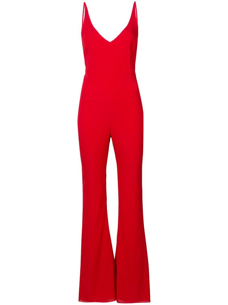 2f8ed7ada04 Haney Gloria Flared Plunge Jumpsuit in Red - Lyst