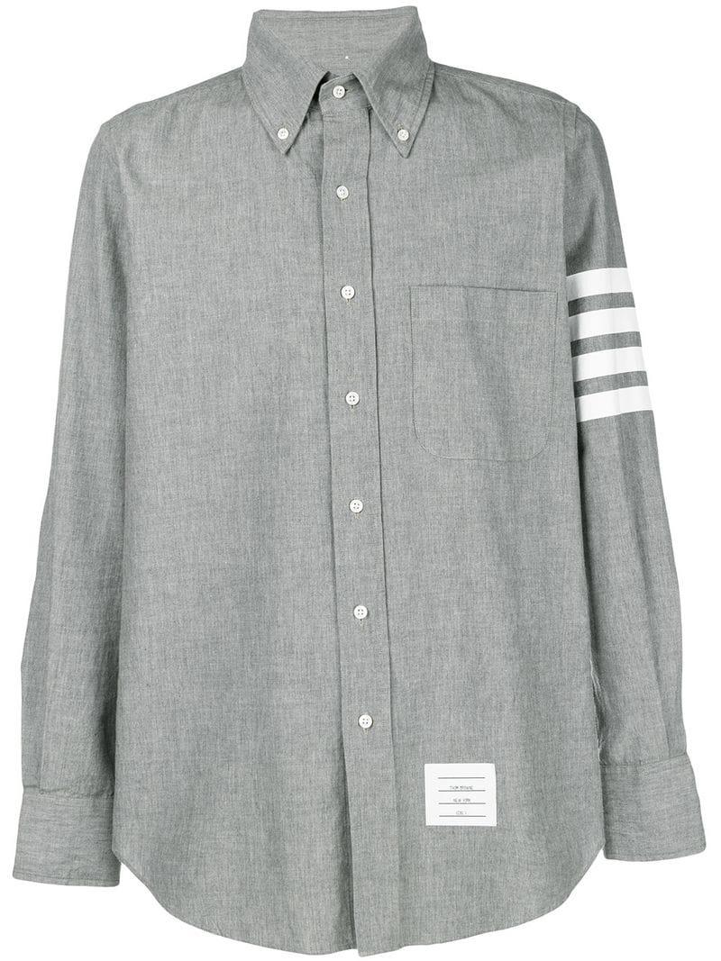 23a7c232a8b Lyst - Thom Browne 4-bar Straight-fit Chambray Shirt in Gray for Men