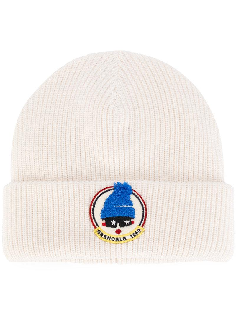 efd922c9872 Lyst - Moncler Grenoble Ribbed Knit Beanie in White