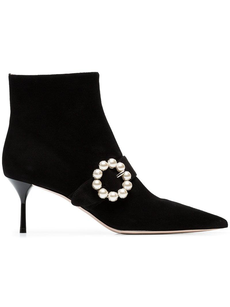 En 65 Ornements Lyst Miu Noir De À Perles Bottines Coloris PaWZqU