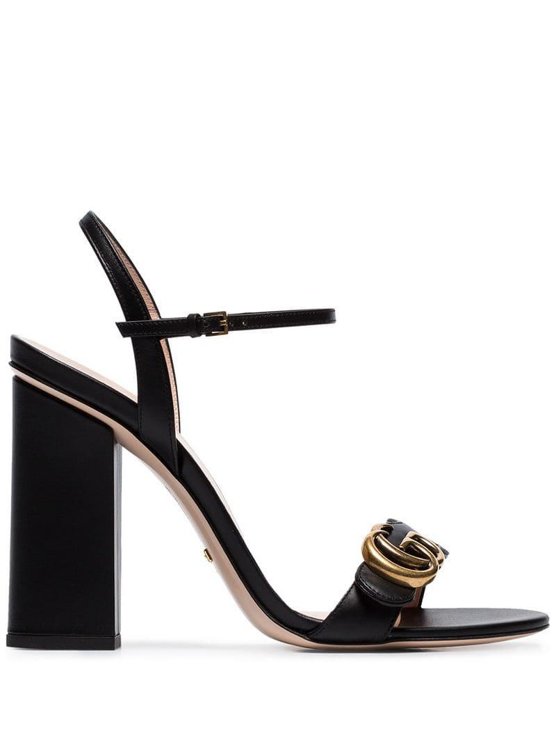 9dd28bcd6b7 Lyst - Gucci Marmont 110 Chunky Heel Leather Sandals in Black