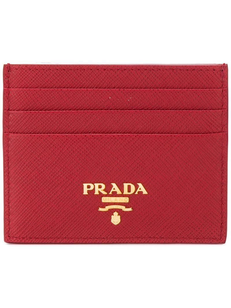 9048f493c268 Prada - Red Logo Plaque Cardholder - Lyst. View fullscreen
