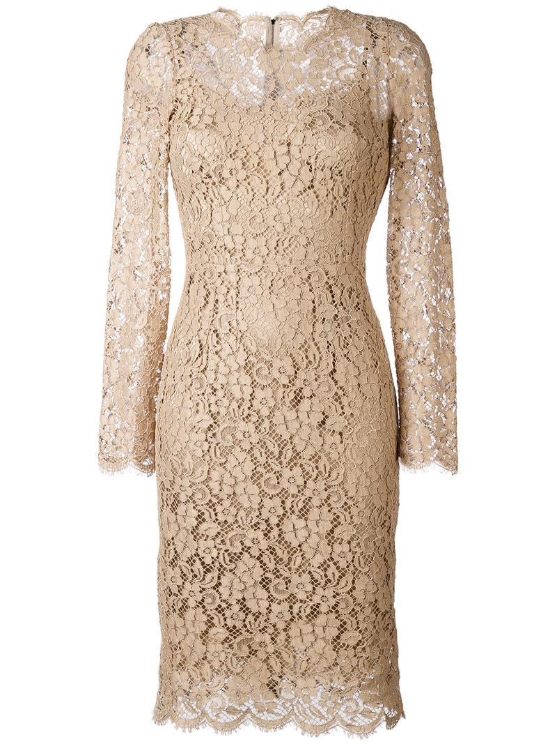 Lyst - Dolce   Gabbana Floral Lace Dress in Natural 2194d6eff