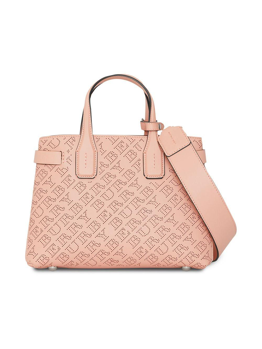 e6b81a56177e Burberry The Small Banner In Perforated Logo Leather in Pink - Lyst
