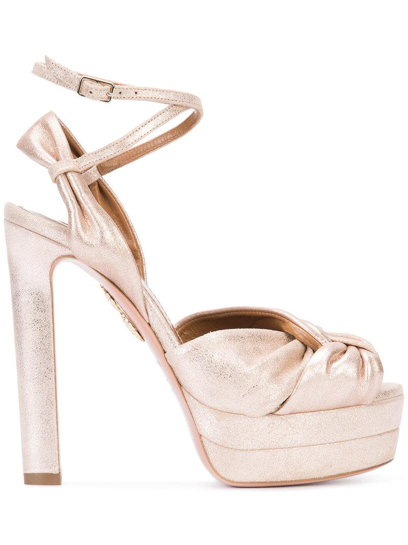Aquazzura Metallic Knotted Sandals footaction cheap price QzzziVYV