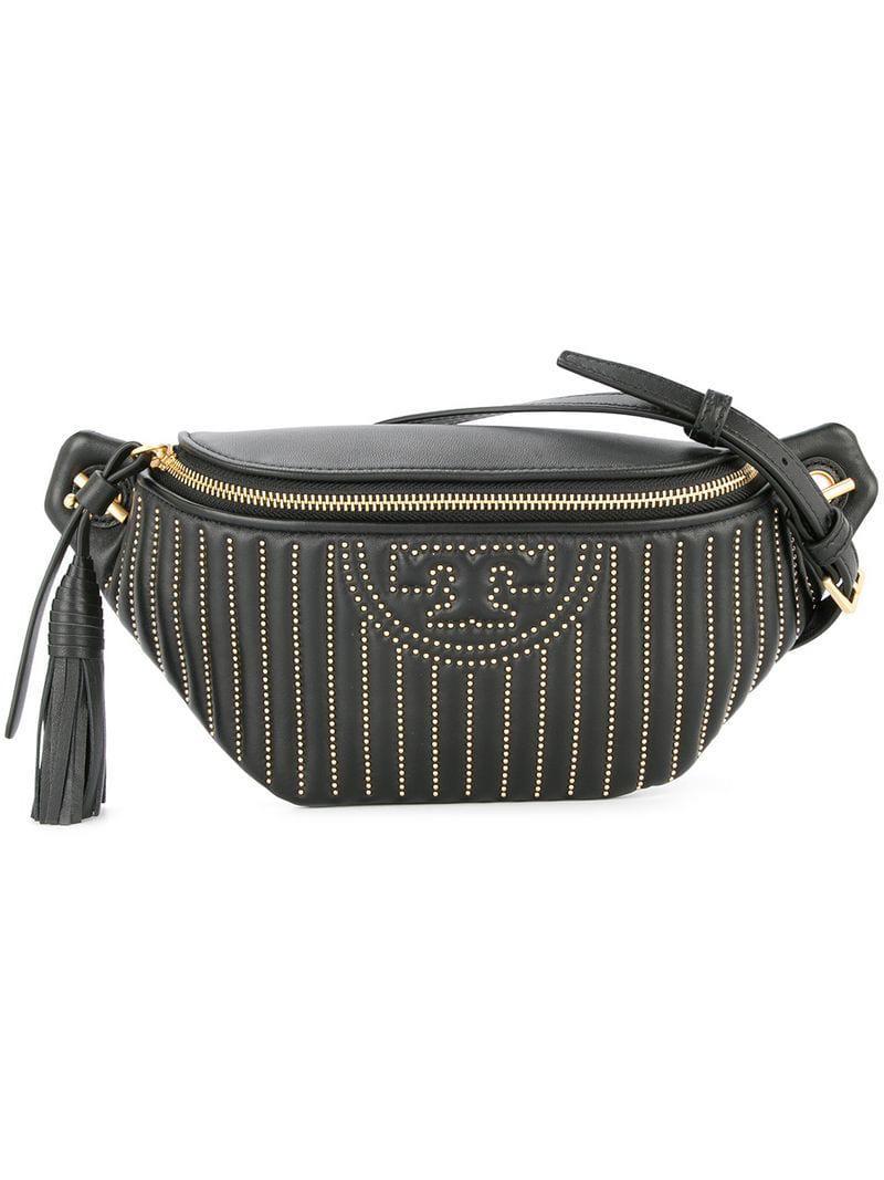 ee32e9bd625 Lyst - Tory Burch Fleming Studded Belt Bag in Black