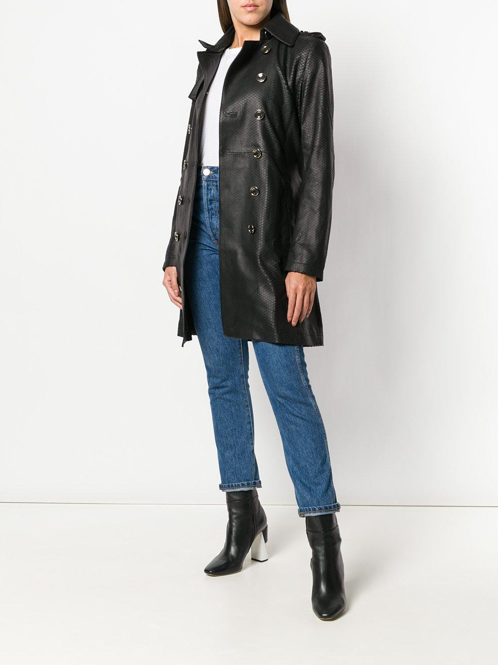 lowest price f5c34 ab862 Patrizia Pepe Snake-effect Trench Coat in Black - Lyst