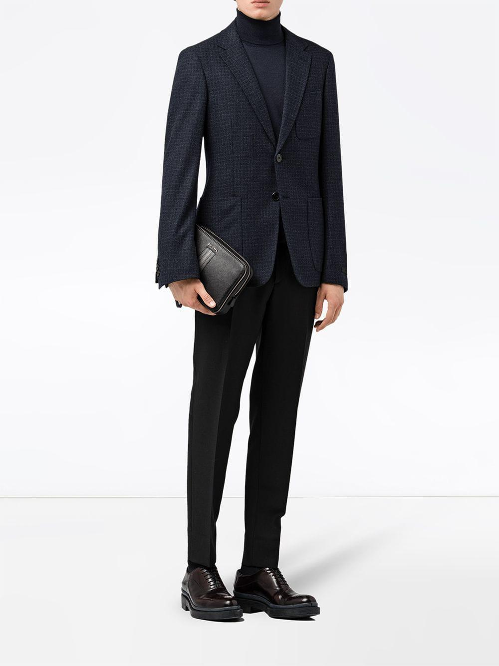 e51a5858c350 Prada - Black Leather Bag for Men - Lyst. View fullscreen