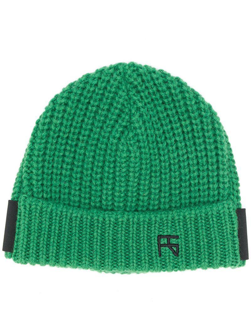 e9cb411db63 Raf Simons Logo Beanie Hat in Green for Men - Lyst