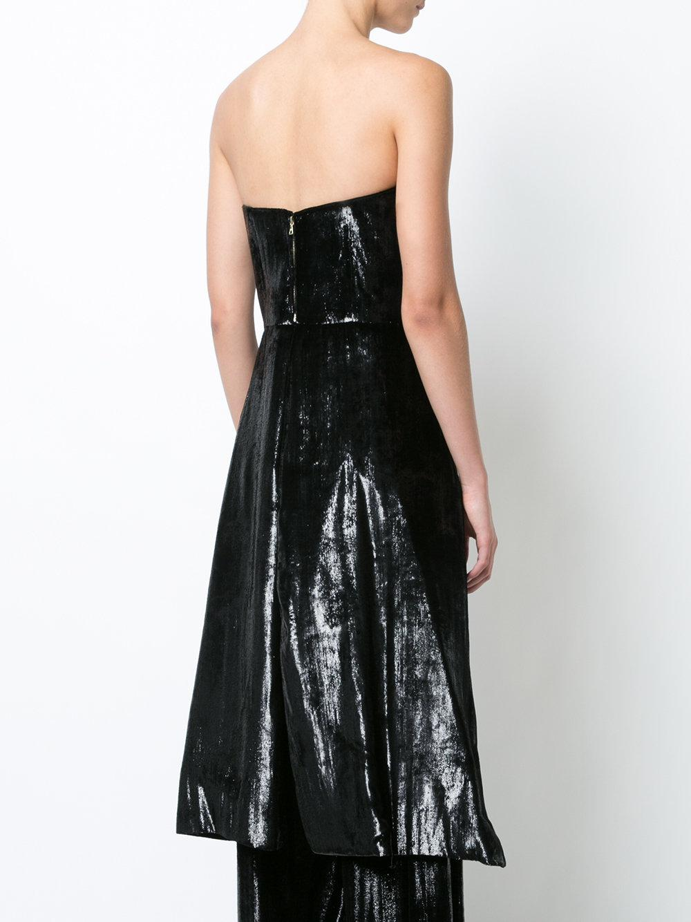 e64eea4123 Lyst - Christian Siriano High Low Strapless Top in Black