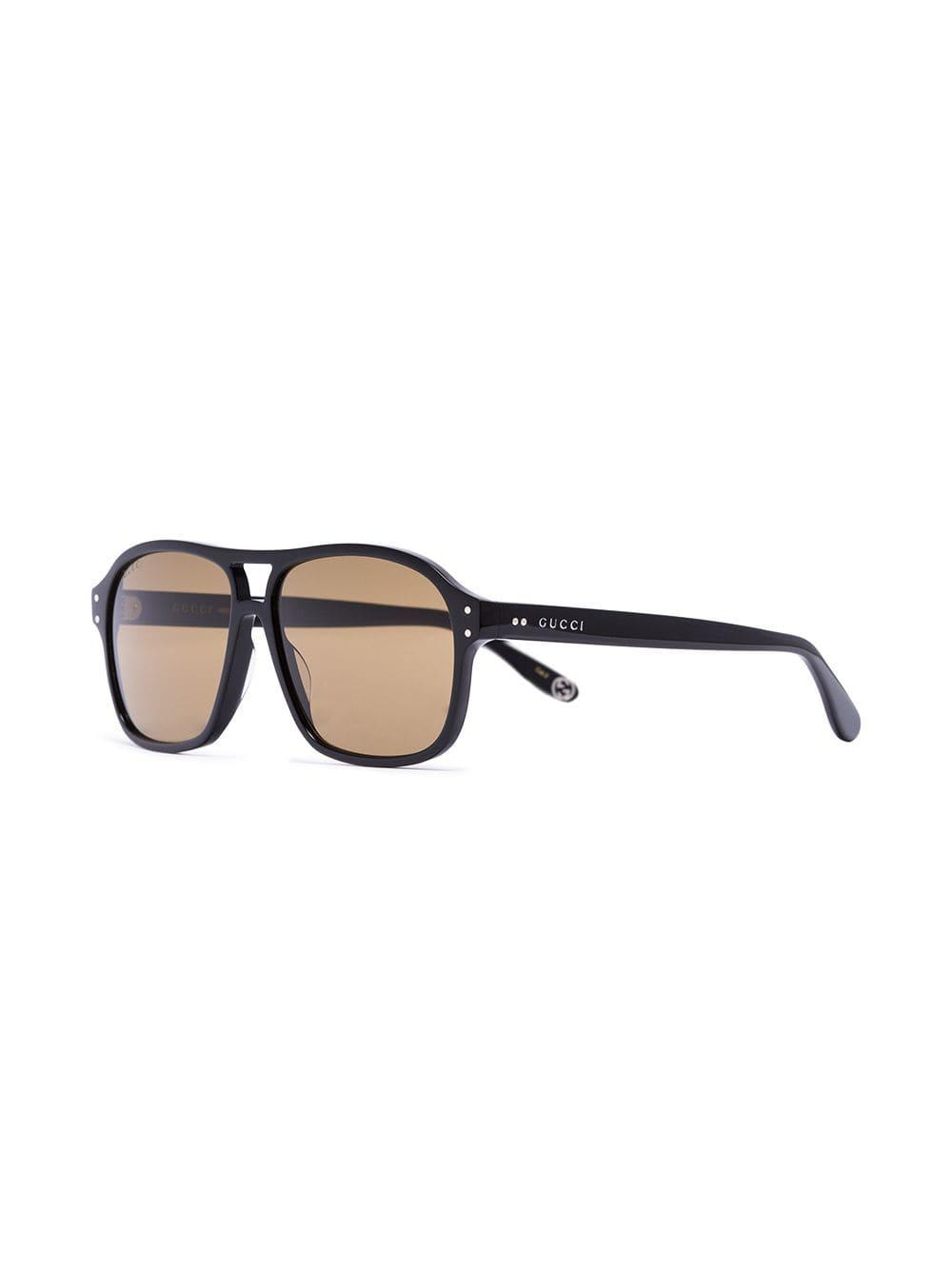 654d4b6cbb Lyst - Gucci Black Tinted Aviator Sunglasses in Black for Men