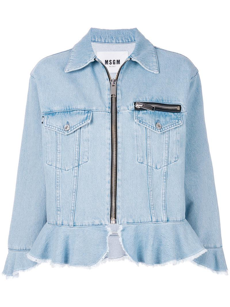 Lyst Msgm Zip Up Denim Jacket With Frill Trims In Blue