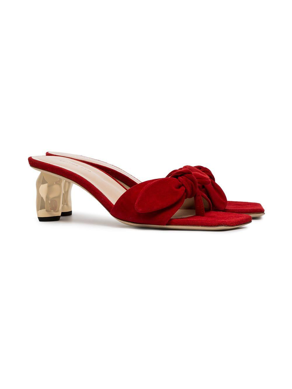 e87a28b15 Rejina Pyo - Red Lottie Bow Embellished Suede Sandals - Lyst. View  fullscreen