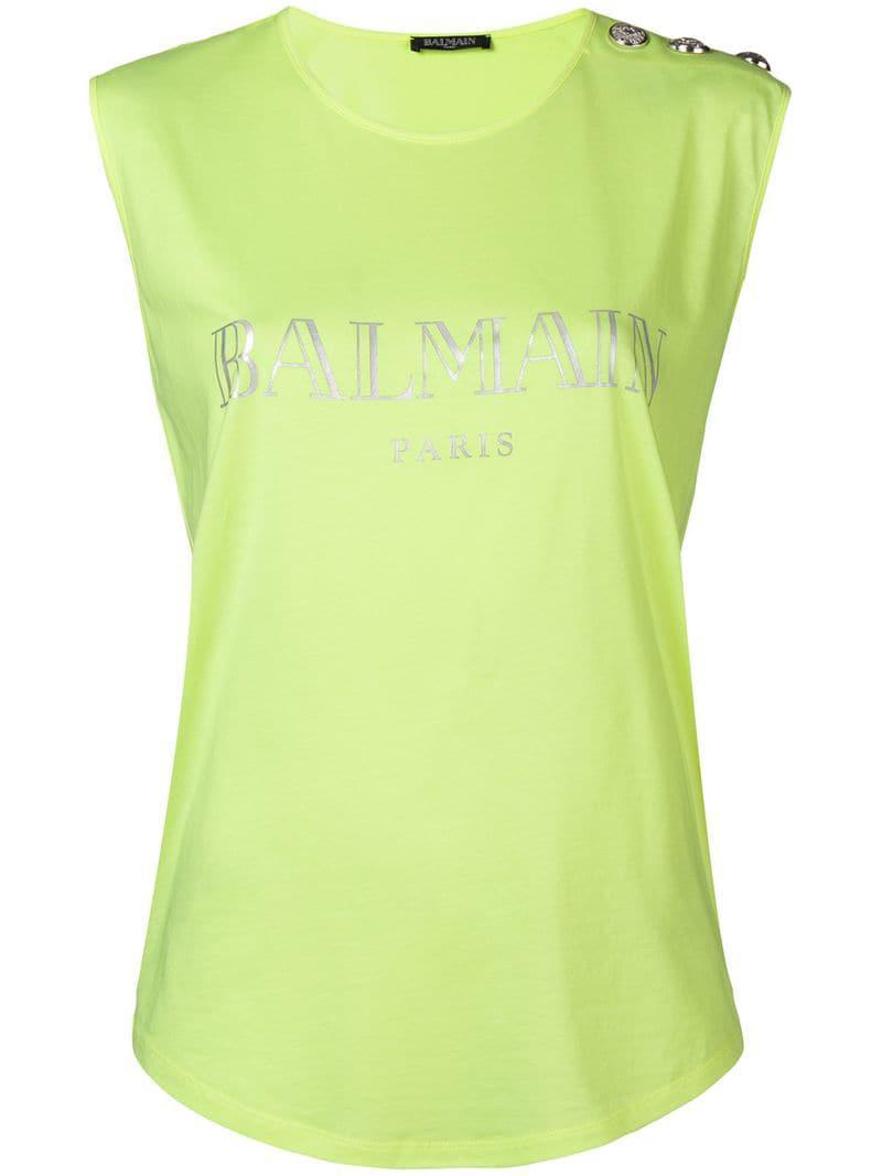 170518c4cf559b Balmain Sleeveless Logo Top in Green - Save 4.102564102564102% - Lyst